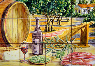Still life with typical Spanish products: red wine, bread, Serrano ham, olives. A small village can be seen in the distance. ANGULO CERAMIC ART