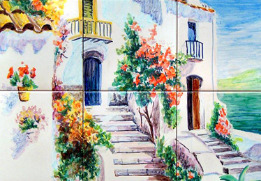 Summer landscape of a house in the Costa delSol. ANGULO CERAMIC ART